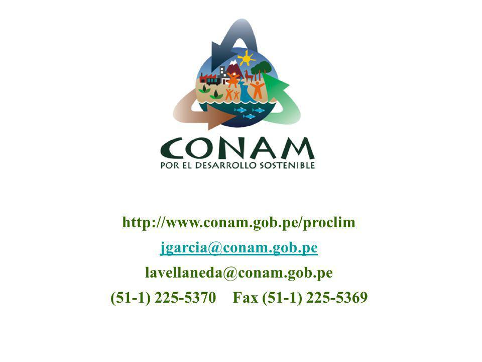 http://www.conam.gob.pe/proclim jgarcia@conam.gob.pe.