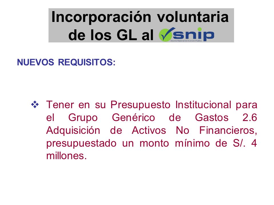 Incorporación voluntaria de los GL al