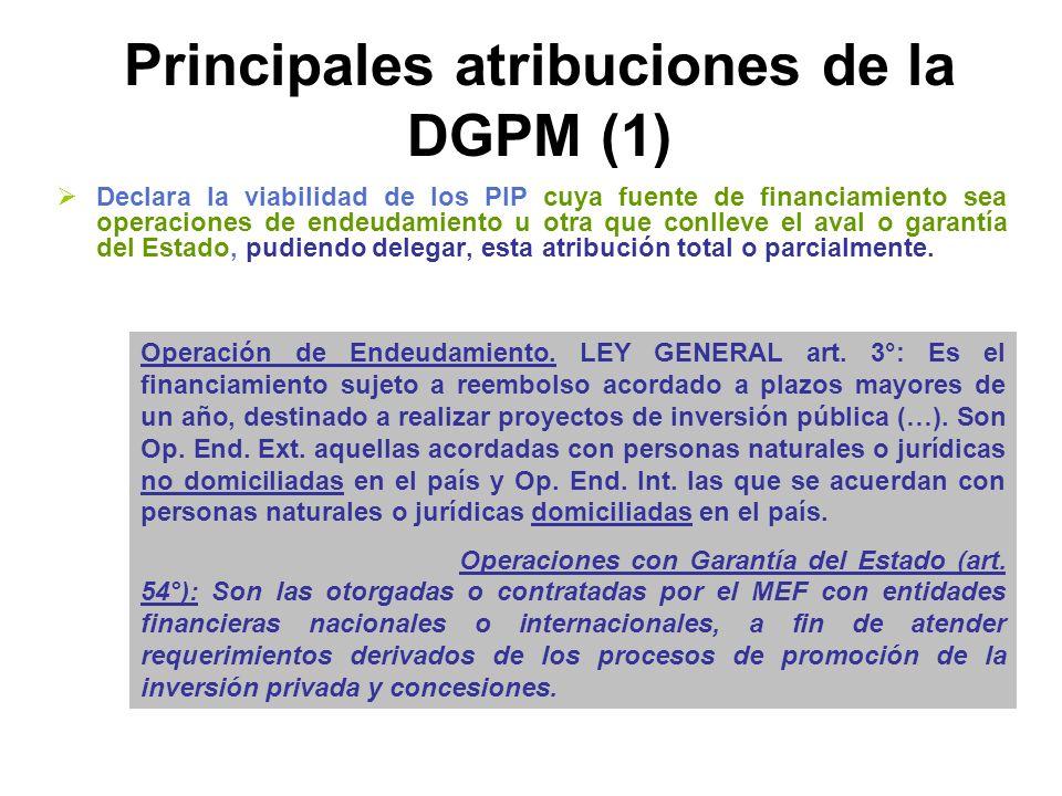 Principales atribuciones de la DGPM (1)