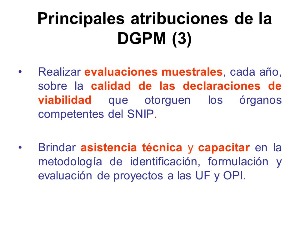 Principales atribuciones de la DGPM (3)