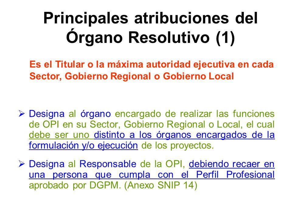 Principales atribuciones del Órgano Resolutivo (1)