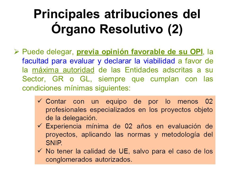 Principales atribuciones del Órgano Resolutivo (2)