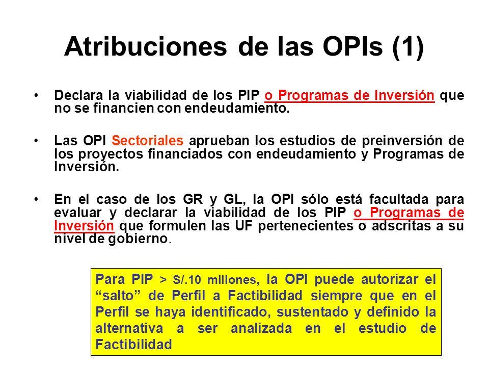 Atribuciones de las OPIs (1)