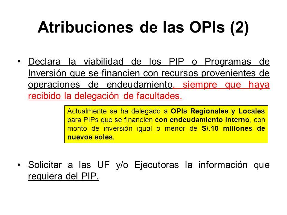 Atribuciones de las OPIs (2)