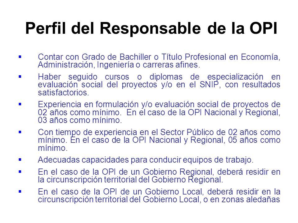 Perfil del Responsable de la OPI
