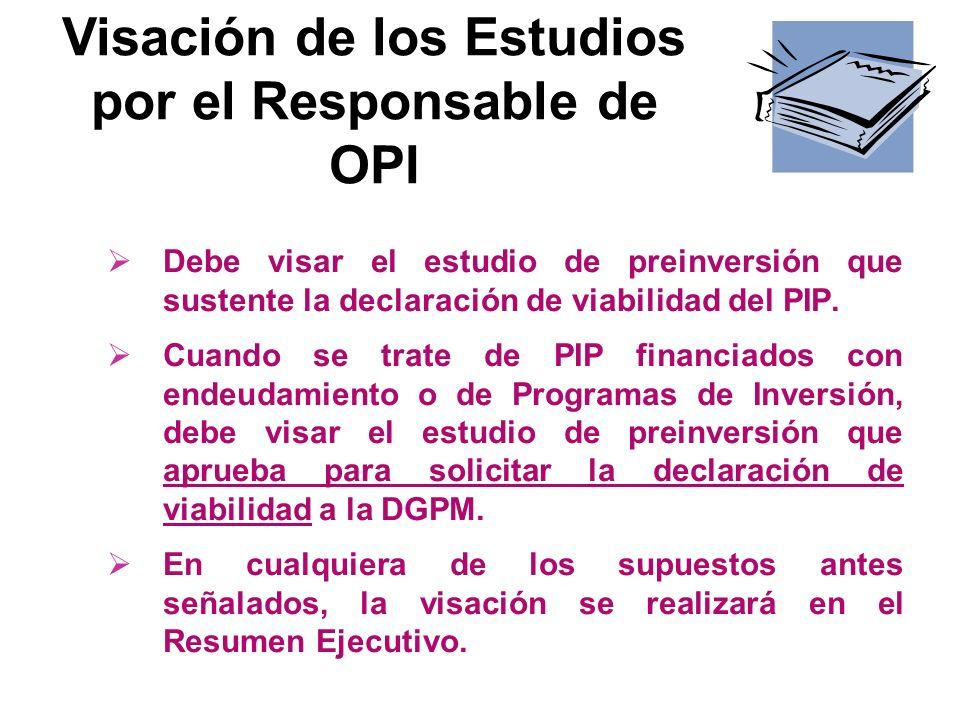 Visación de los Estudios por el Responsable de OPI