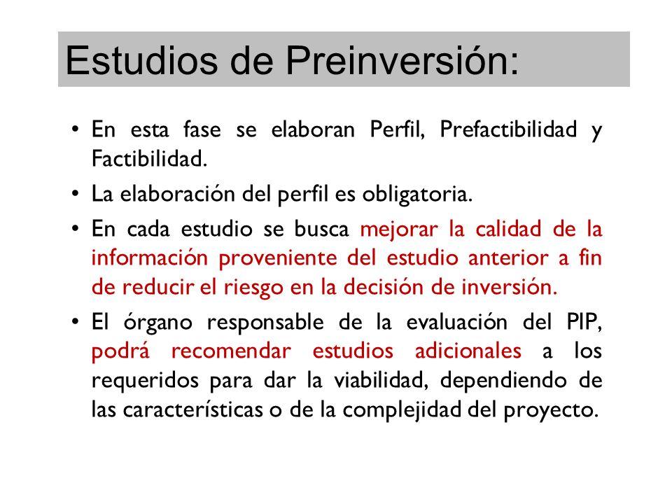 Estudios de Preinversión: