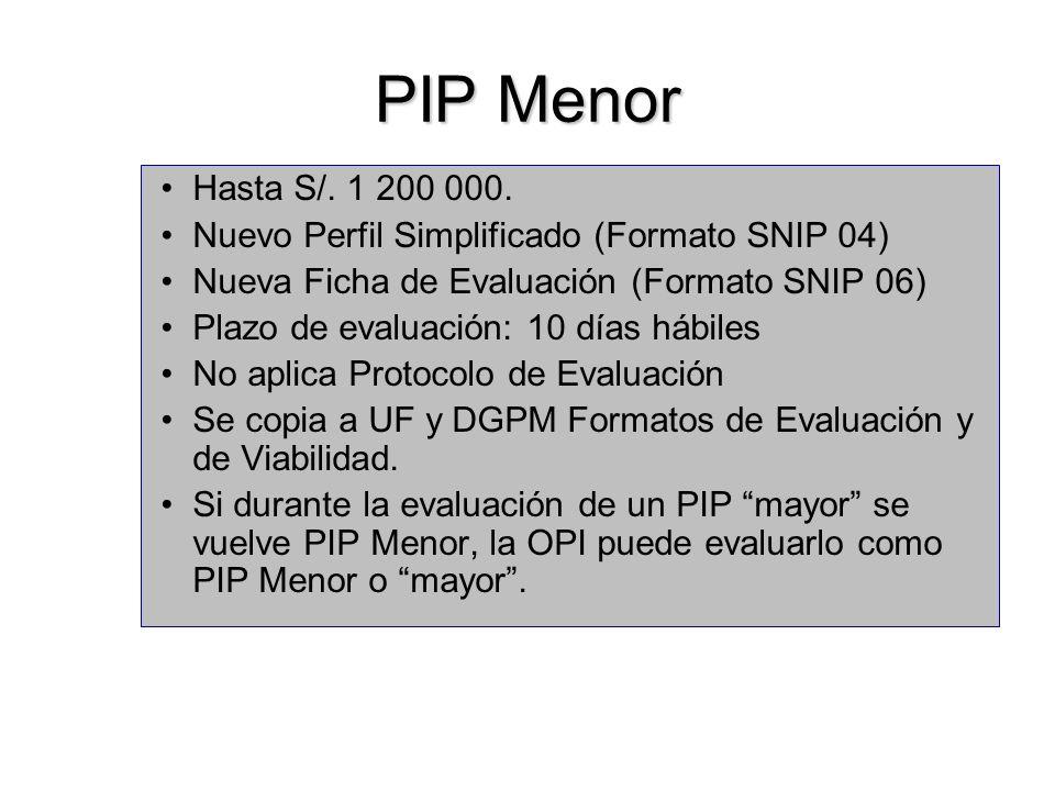 PIP Menor Hasta S/. 1 200 000. Nuevo Perfil Simplificado (Formato SNIP 04) Nueva Ficha de Evaluación (Formato SNIP 06)