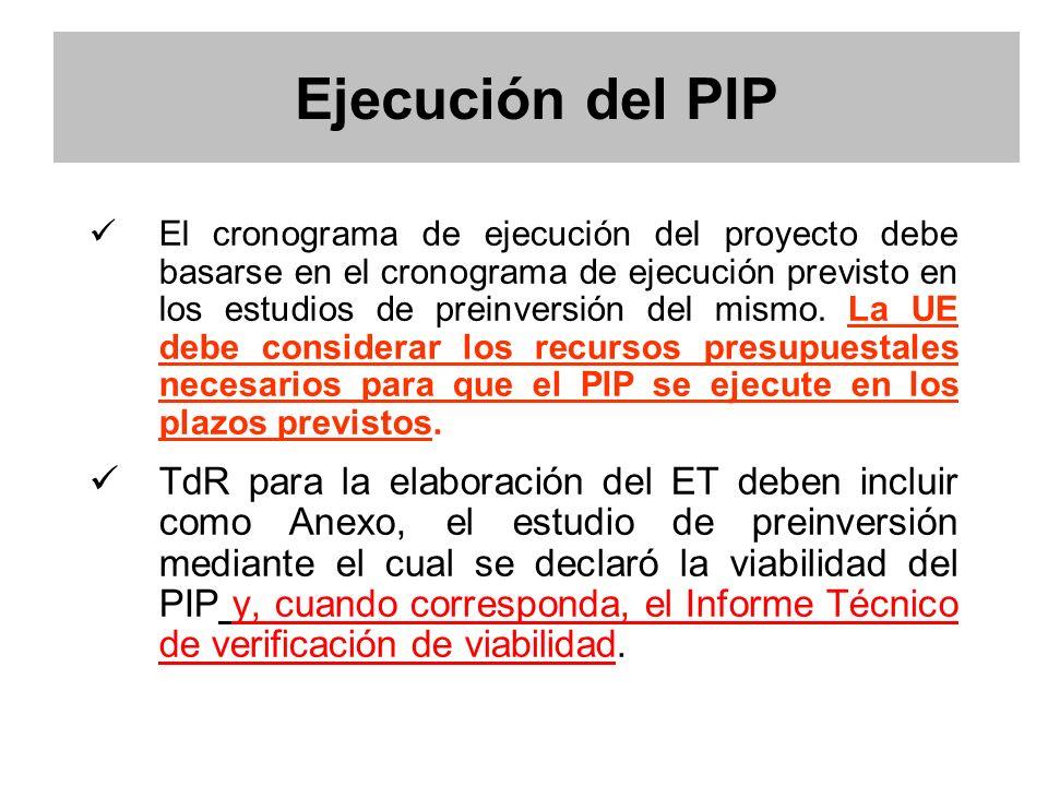 Ejecución del PIP