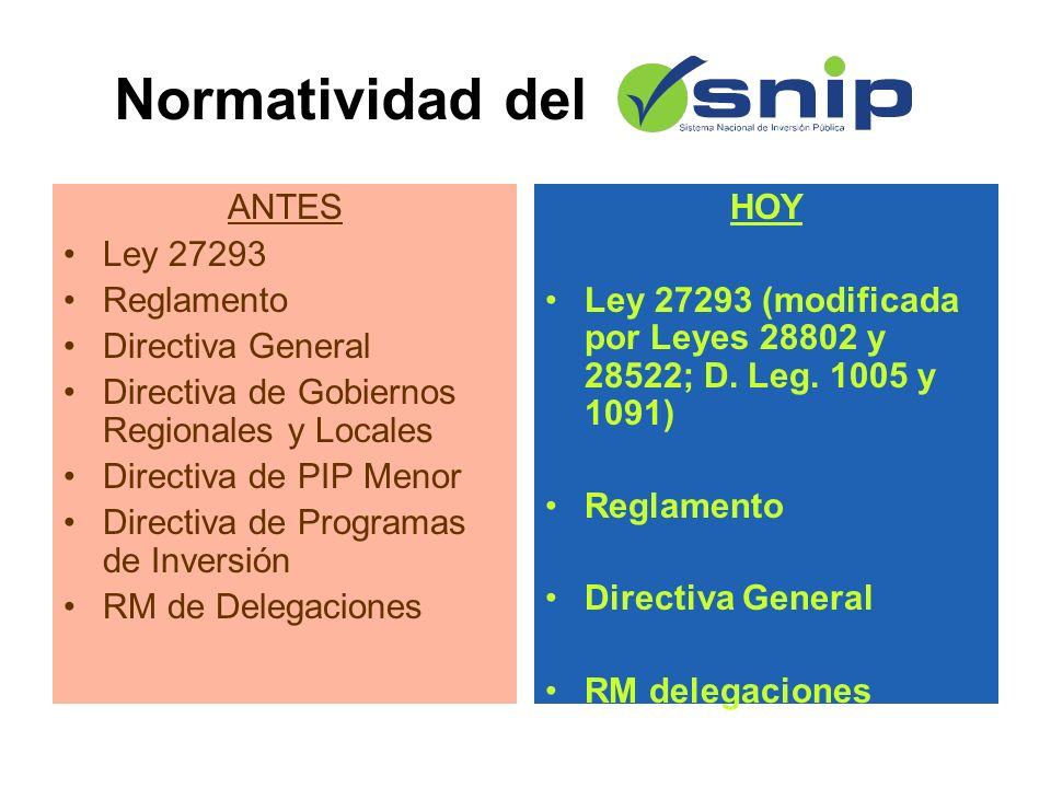 Normatividad del ANTES Ley 27293 Reglamento Directiva General