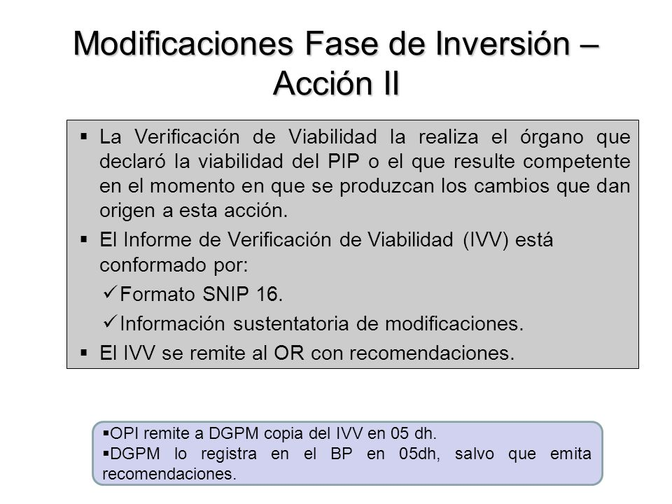 Modificaciones Fase de Inversión – Acción II