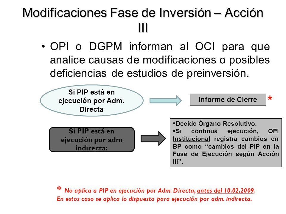 Modificaciones Fase de Inversión – Acción III