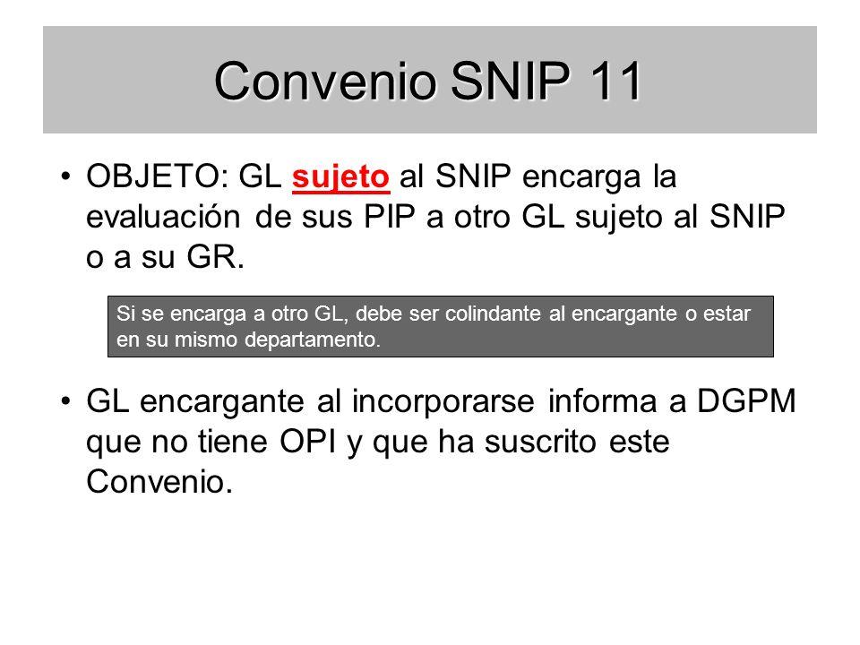 Convenio SNIP 11 OBJETO: GL sujeto al SNIP encarga la evaluación de sus PIP a otro GL sujeto al SNIP o a su GR.