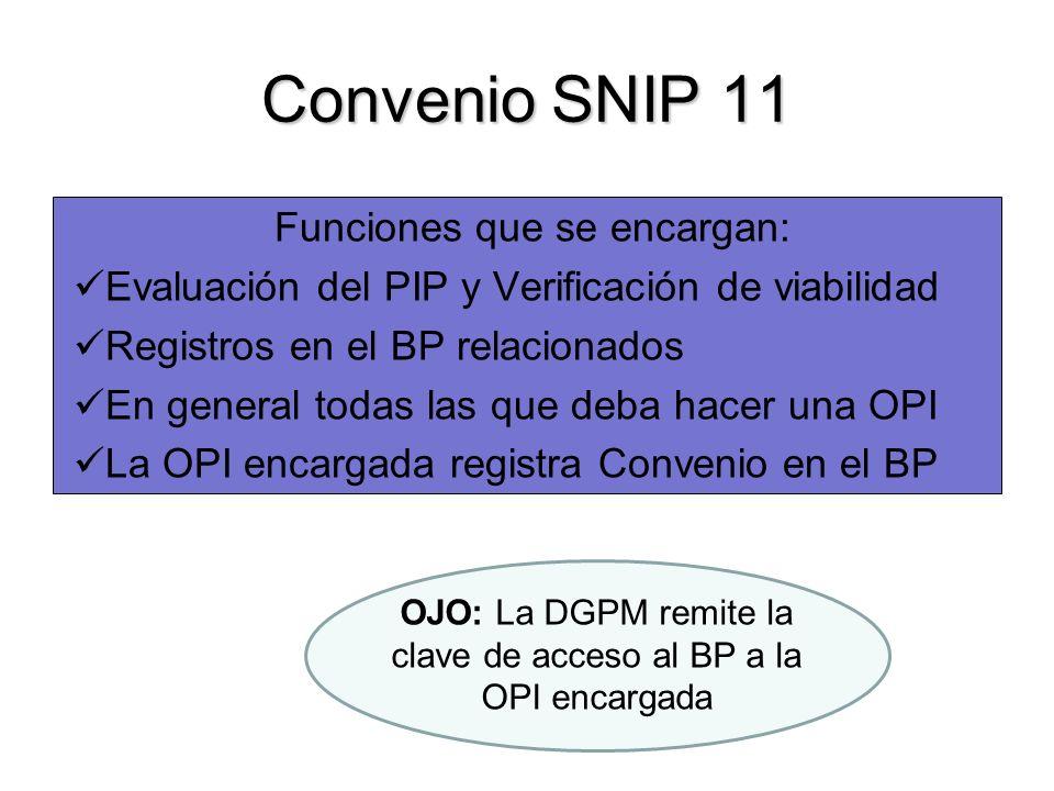Convenio SNIP 11 Funciones que se encargan: