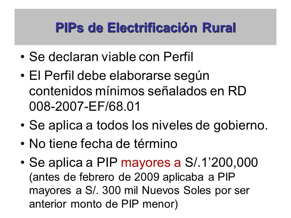 PIPs de Electrificación Rural