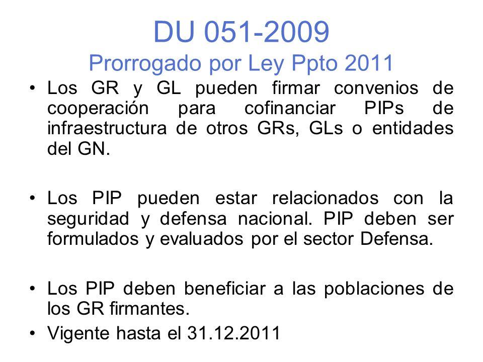 DU 051-2009 Prorrogado por Ley Ppto 2011