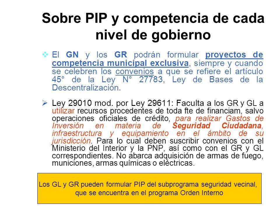 Sobre PIP y competencia de cada nivel de gobierno