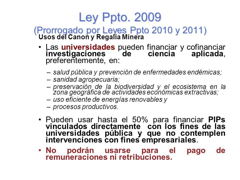 Ley Ppto. 2009 (Prorrogado por Leyes Ppto 2010 y 2011)
