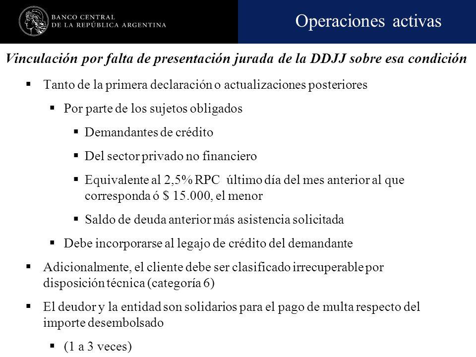Vinculación por falta de presentación jurada de la DDJJ sobre esa condición
