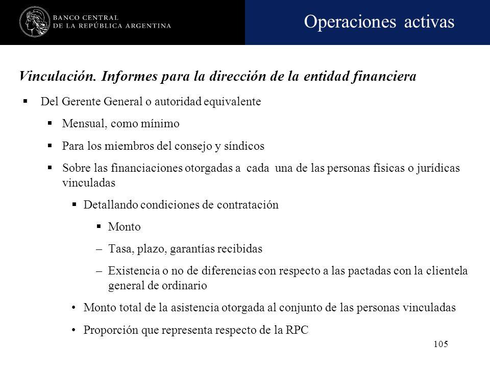 Vinculación. Informes para la dirección de la entidad financiera