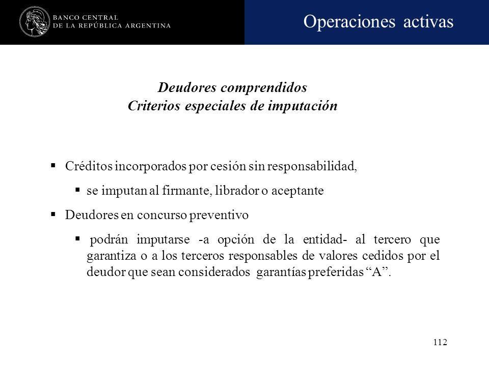 Deudores comprendidos Criterios especiales de imputación