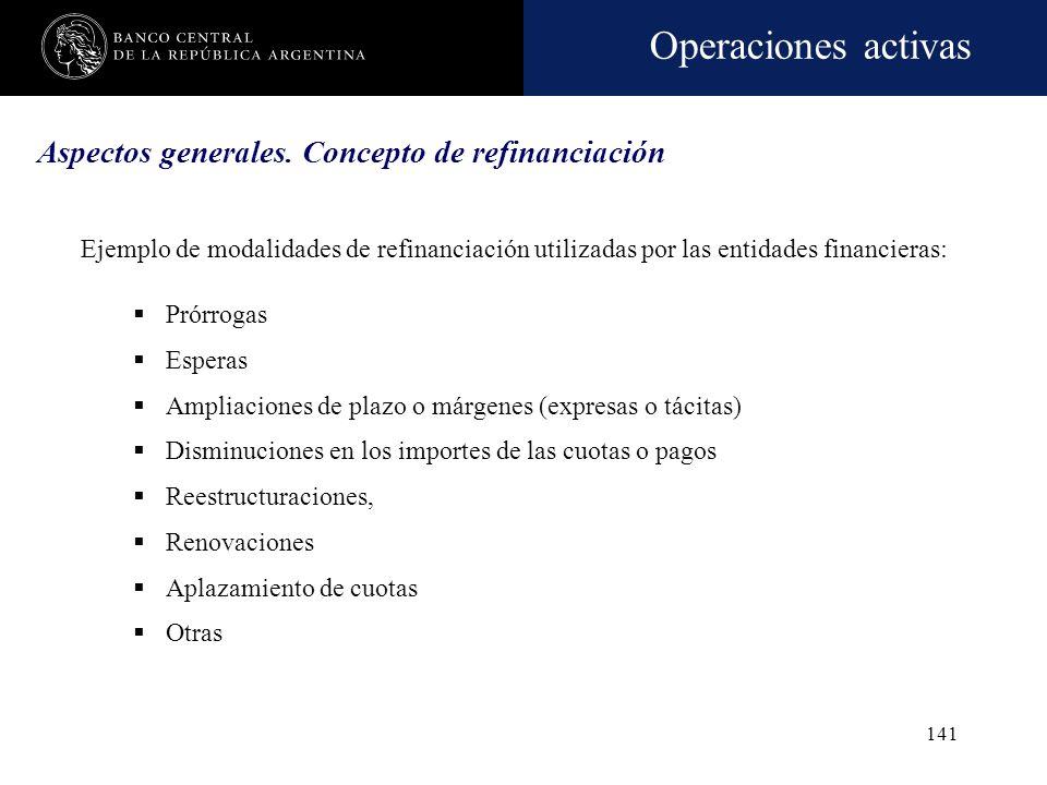 Aspectos generales. Concepto de refinanciación