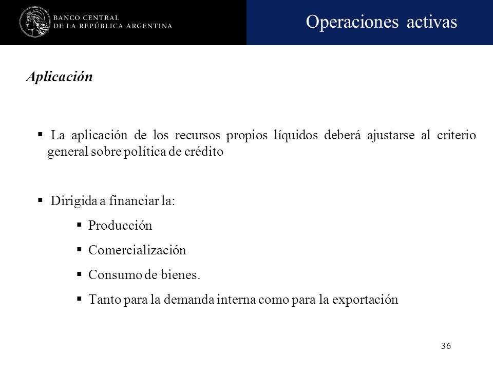 AplicaciónLa aplicación de los recursos propios líquidos deberá ajustarse al criterio general sobre política de crédito.
