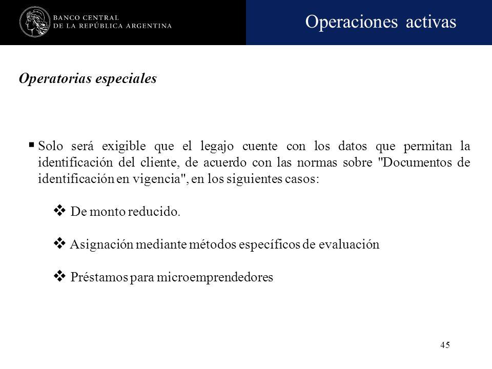 Operatorias especiales