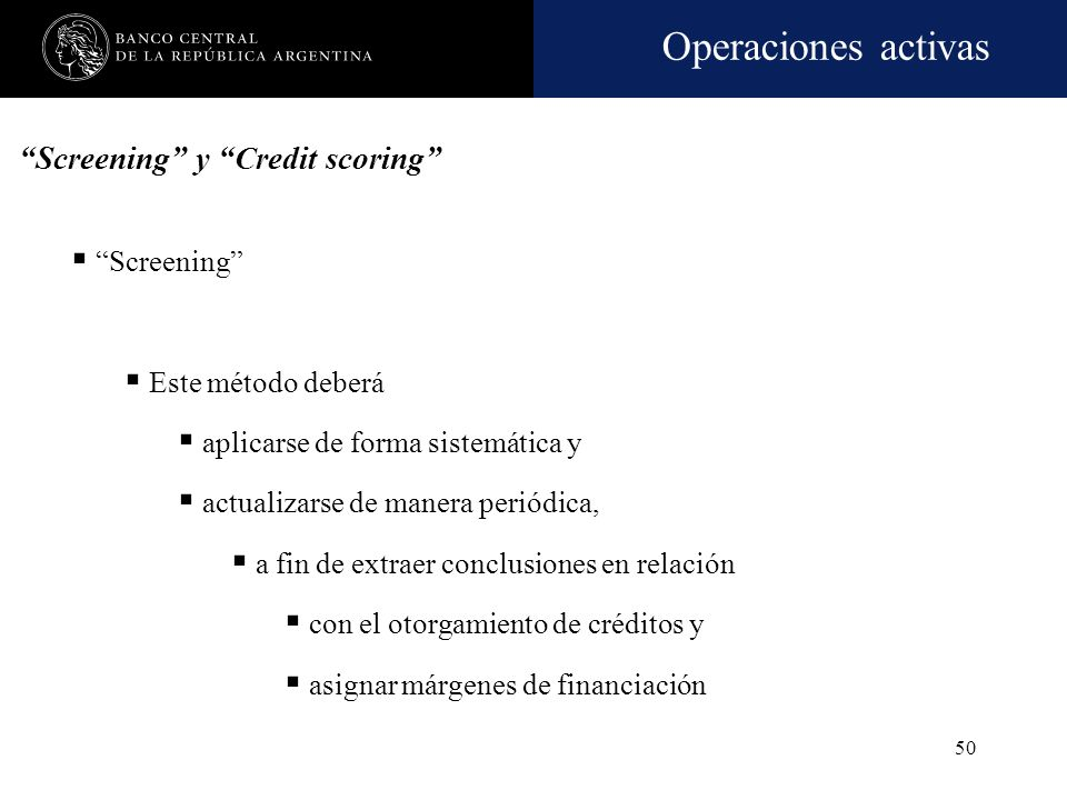 Screening y Credit scoring
