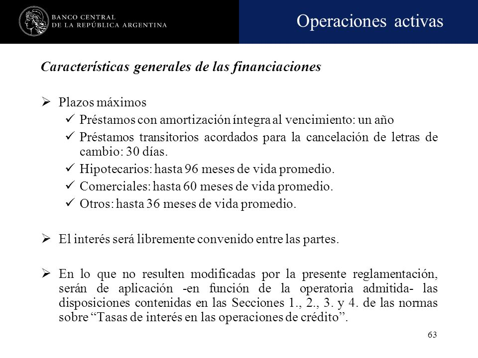 Características generales de las financiaciones