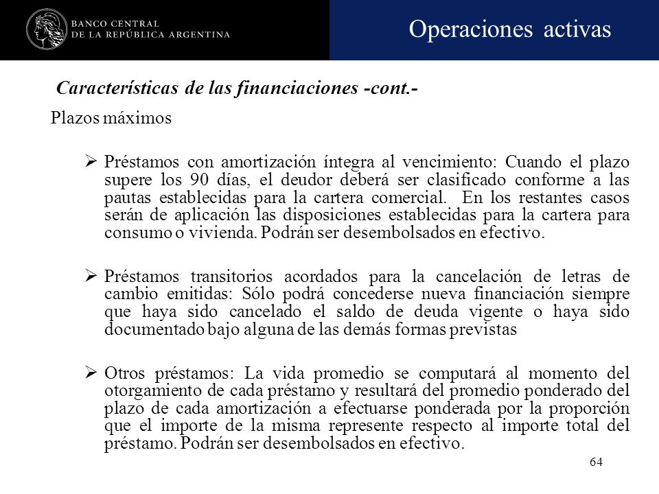 Características de las financiaciones -cont.-