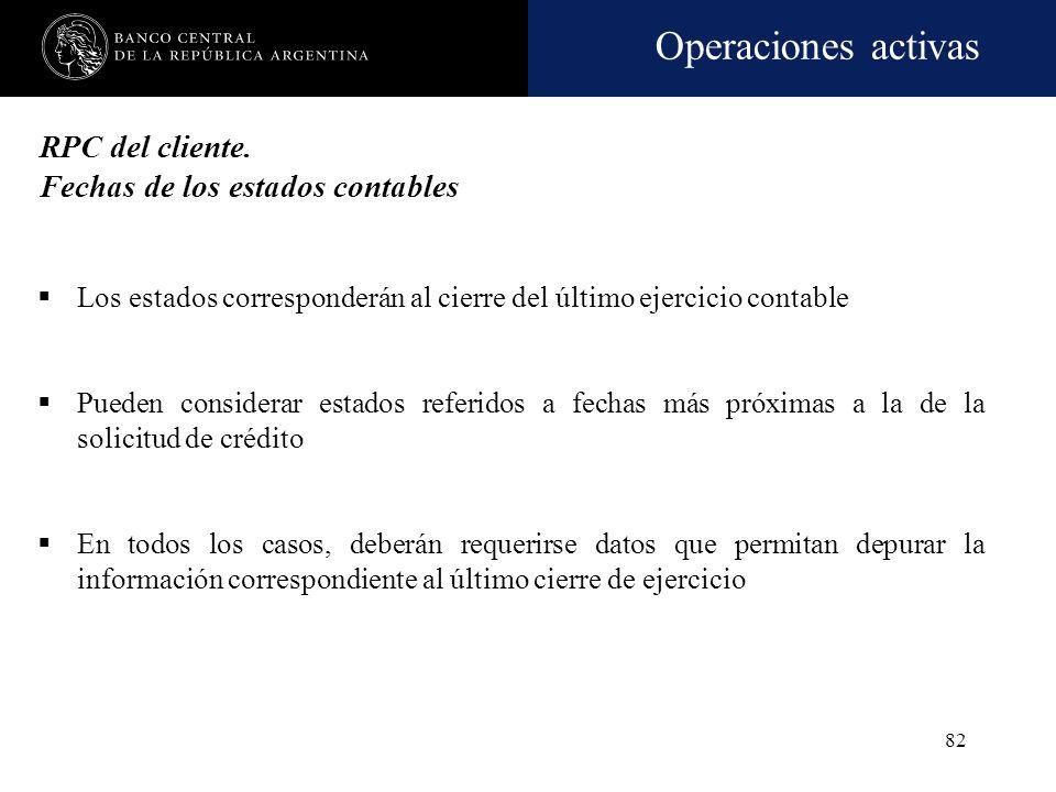 RPC del cliente. Fechas de los estados contables