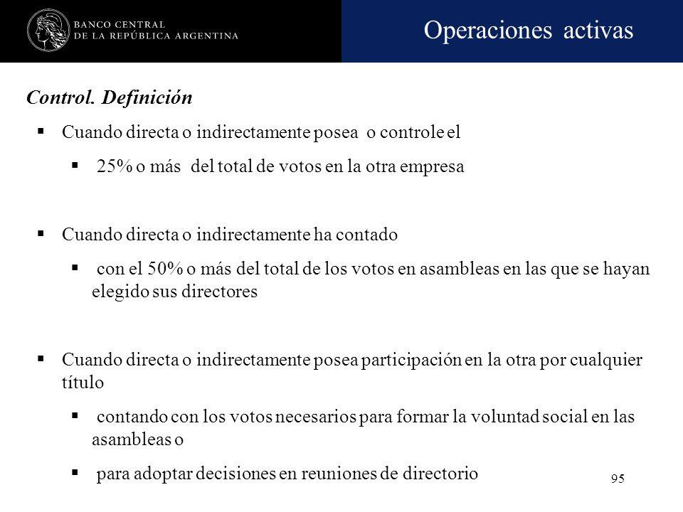 Control. Definición Cuando directa o indirectamente posea o controle el. 25% o más del total de votos en la otra empresa.
