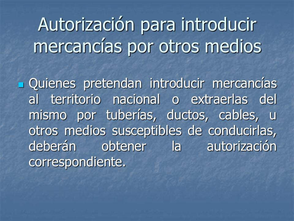 Autorización para introducir mercancías por otros medios