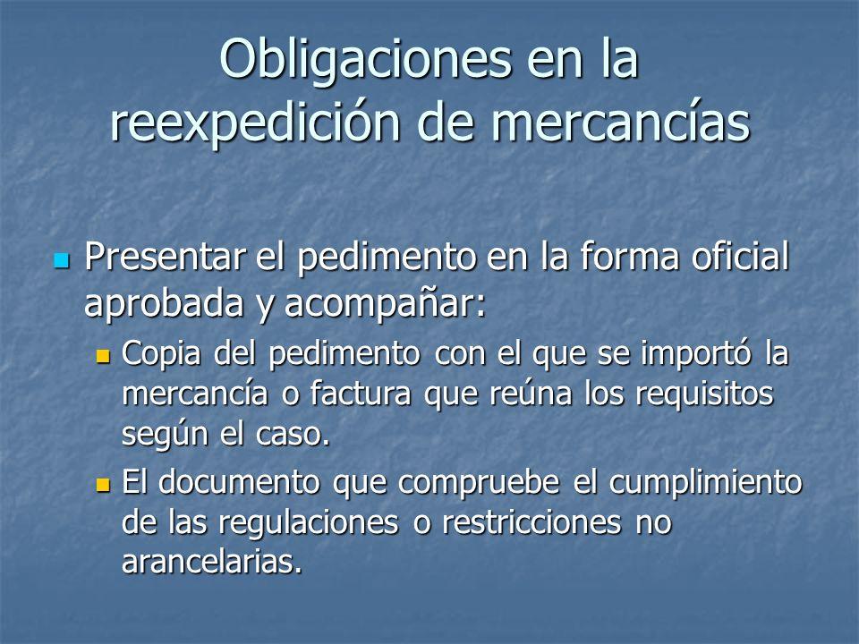 Obligaciones en la reexpedición de mercancías