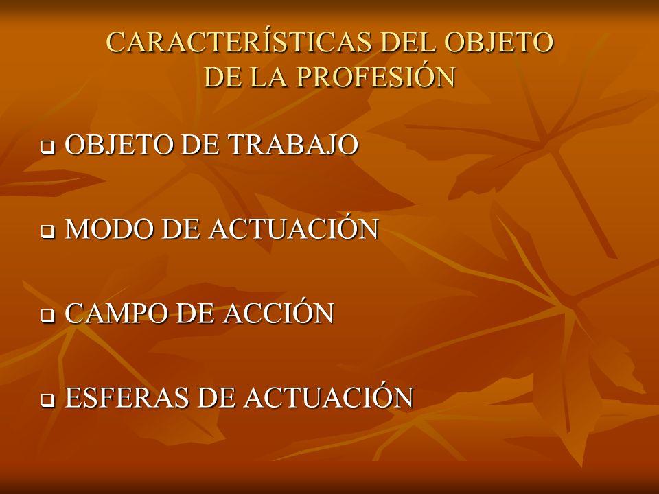 CARACTERÍSTICAS DEL OBJETO DE LA PROFESIÓN