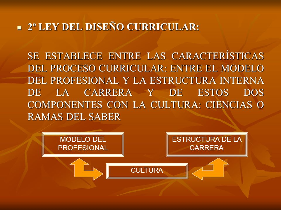 2º LEY DEL DISEÑO CURRICULAR: