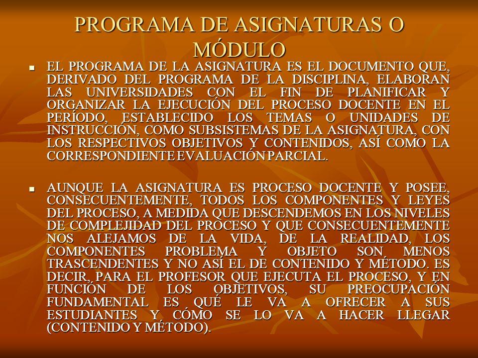 PROGRAMA DE ASIGNATURAS O MÓDULO