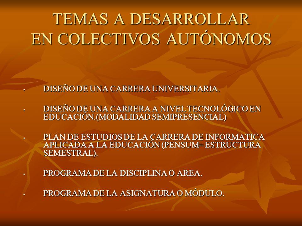 TEMAS A DESARROLLAR EN COLECTIVOS AUTÓNOMOS