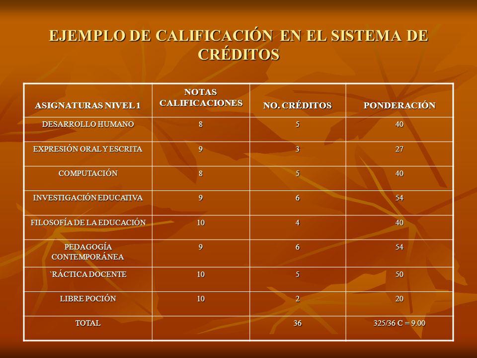 EJEMPLO DE CALIFICACIÓN EN EL SISTEMA DE CRÉDITOS