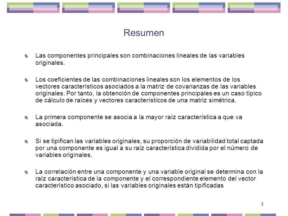 Resumen Las componentes principales son combinaciones lineales de las variables originales.