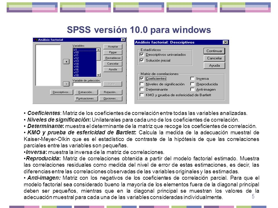 SPSS versión 10.0 para windows