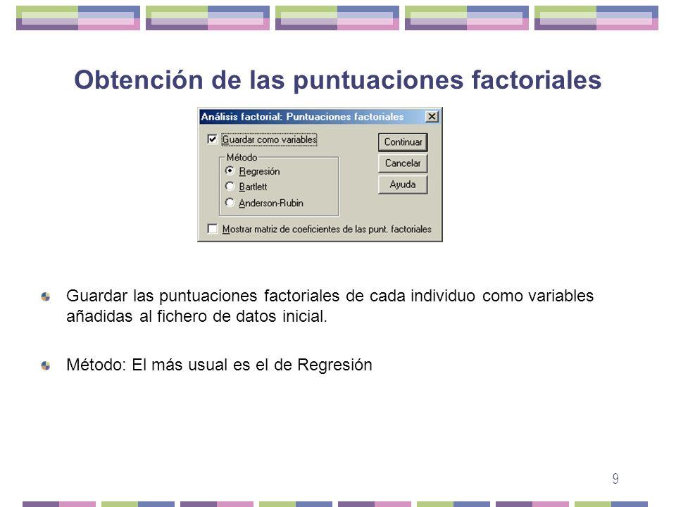 Obtención de las puntuaciones factoriales