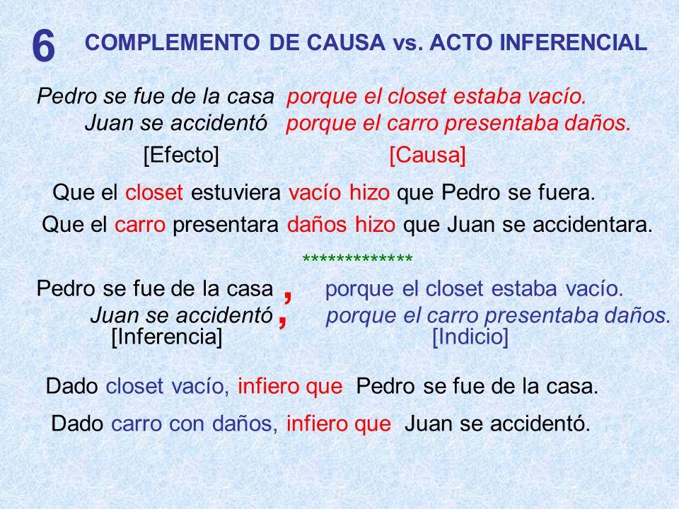 6 , , COMPLEMENTO DE CAUSA vs. ACTO INFERENCIAL