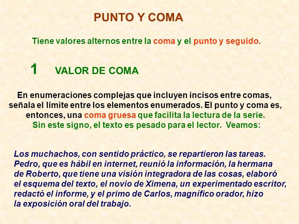 1 VALOR DE COMA PUNTO Y COMA
