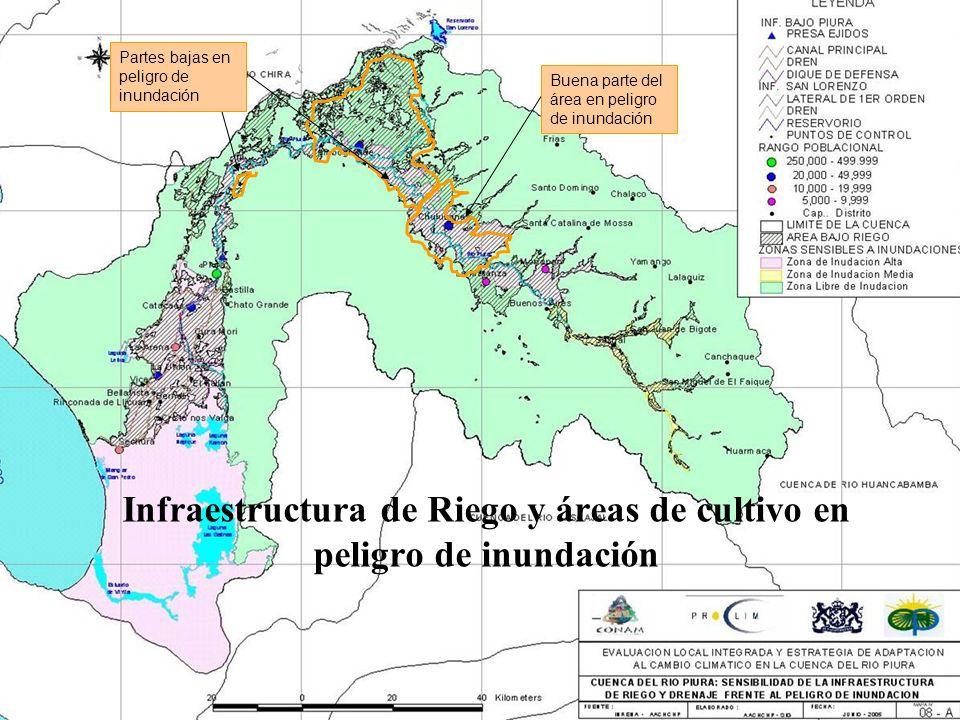 Infraestructura de Riego y áreas de cultivo en peligro de inundación