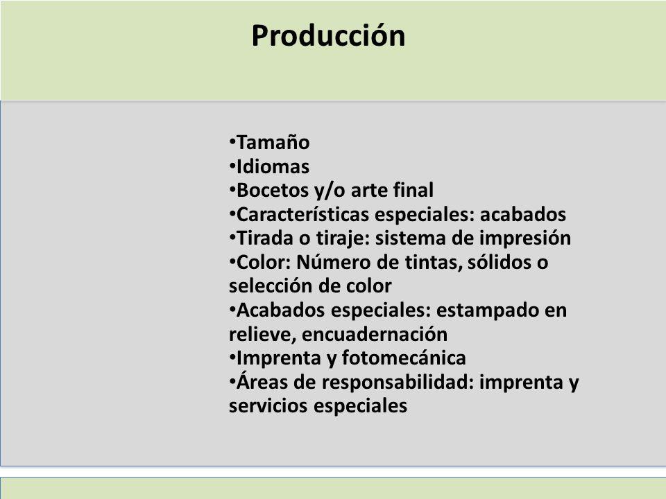Producción Tamaño Idiomas Bocetos y/o arte final