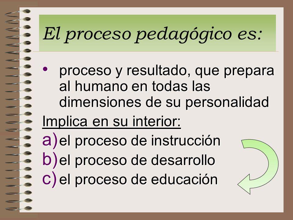 El proceso pedagógico es: