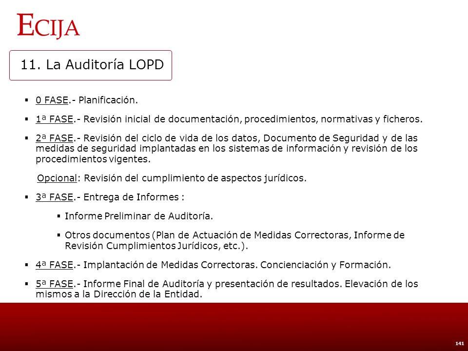 11. La Auditoría LOPD Planificación