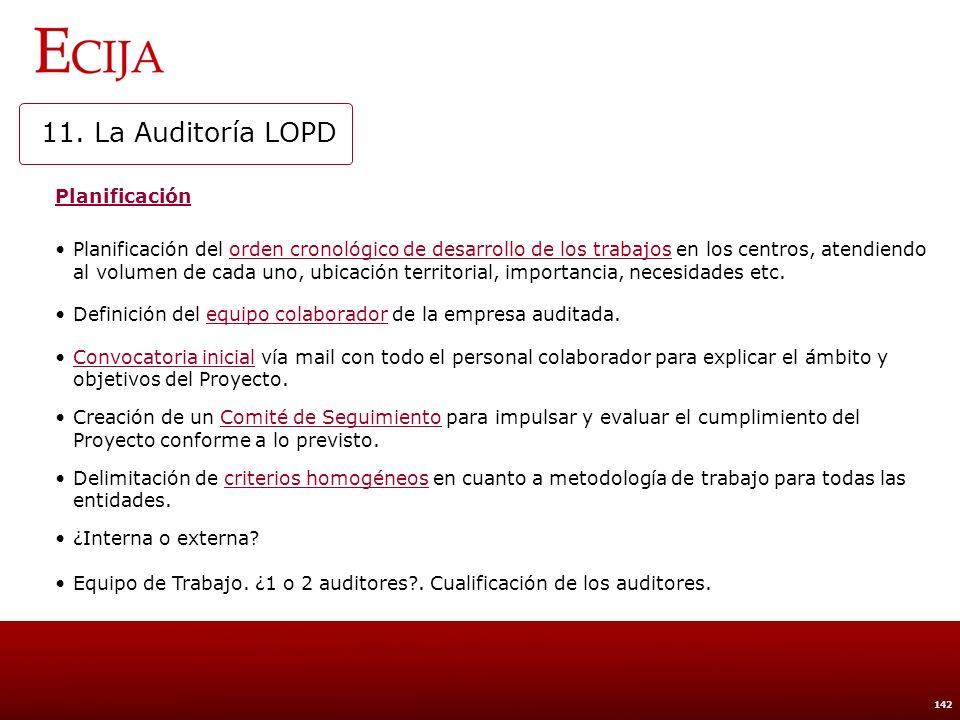 11. La Auditoría LOPD Revisión de documentación